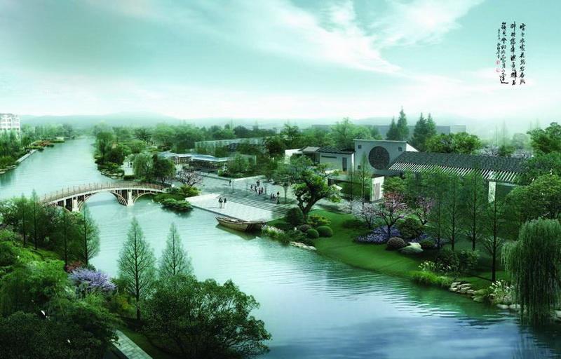 项目规模:基地总面积4.85公顷 设计时间:2012年 项目进展:建设中 设计特色: 1)以生态、整体、关联、可操作性及人性化为设计主导原则; 2)结合周边地块功能及现状资源条件,以生态游憩需求和自然生境保护为依据,对四干河景观带提出南情北韵的整体定位,对本段南情定位为水之情怀,营造南丰景观的风情、野趣、生态之美; 3)基于地域文脉,采用计白当黑、惜墨如金的手法,以现代简洁的新材料表达传统江南景观元素,营造具南丰特色的新江南生态景观绿廊。